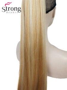 Image 5 - StrongBeauty długa prosta klamra kucyk Hairpiece przedłużanie włosów 26 cali syntetyczna odporność na ciepło wybór kolorów