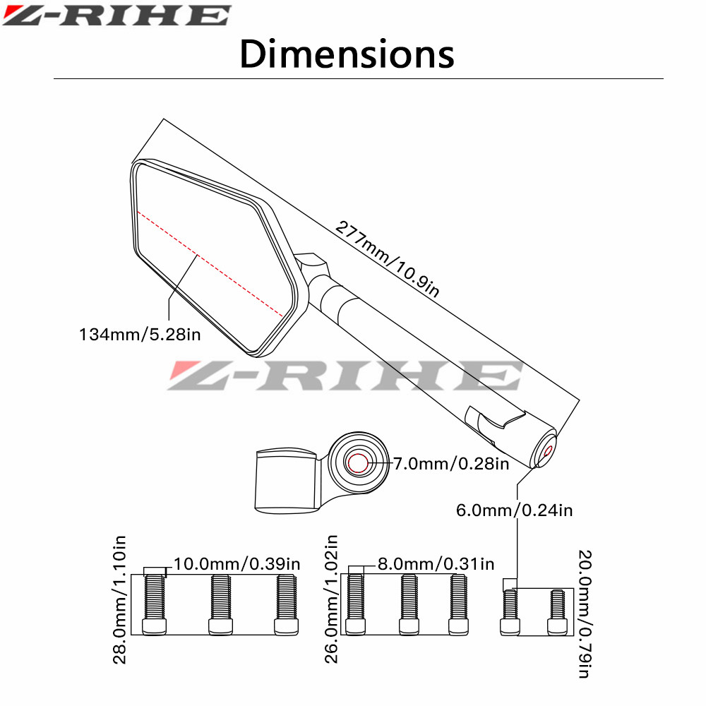 Aluminum Motorcycle Rearview Mirror For Yamaha Fz600 Fz1000 Xj6 Fz 600 Wiring Diagram Xjr1200 Xjr1300 V Max And Other Models 1 Pairs Free Shipping In Side Mirrors Accessories