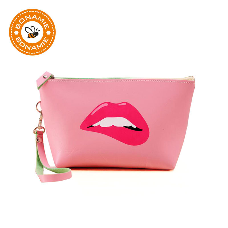 BONAMIE Waterproof Zipper Cosmetic Bag Organizer Clutch Bag Lips Makeup Bag Big Capacity Storage Cosmetic Pouch With Hand Strap universal waterproof bag with strap