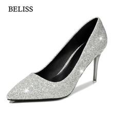 BELISS Sexy Spring Autumn Women Pumps High Heels Shallow Women Shoes Slip On Wedding party Female Shoes Bling Pointed Toe S79