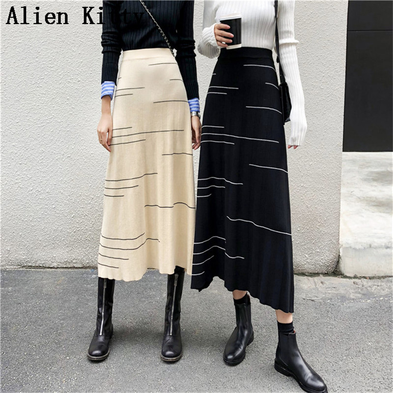 Alien Kitty Knitted Elastic Vintage Simple Summer Spring Fashion Elegant A-Line Skirt High Waist Mid-Calf Fresh Skirts Women