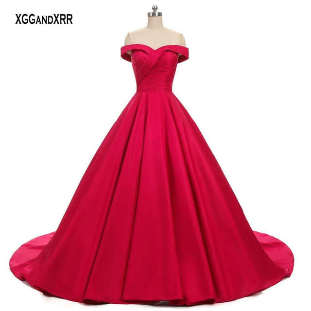 Elegant Red Ball Gown Prom Dress 2018 Sexy Sweetheart Off Shoulder Corset  Backless Luxury Formal Party. placeholder ... 342525036107