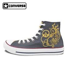 Серый Converse All Star человек женская обувь Шестерни панк оригинальный Дизайн ручной росписью обувь высокие холщовые кроссовки уникальные подарки