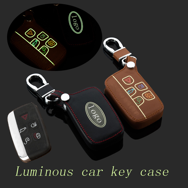 Genuine Leather Car Key Rings <font><b>Keychain</b></font> for Land <font><b>Rover</b></font> a9 <font><b>range</b></font> <font><b>rover</b></font> freelander <font><b>Evoque</b></font> discovery Car Key Case Cover Accessories image