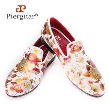 Piergitar impresión flores de tela de los hombres zapatos de los hombres de la boda del estilo chino y la Celebración de Los Holgazanes Hombres zapatos de Vestir Planos de Los Hombres de Tamaño EE. UU. 4-17