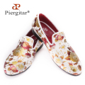 Piergitar Chinese style Printing flowers Men Cloth shoes Men Wedding and Party Loafers Men Dress shoes Men's Flats Size US 4-17