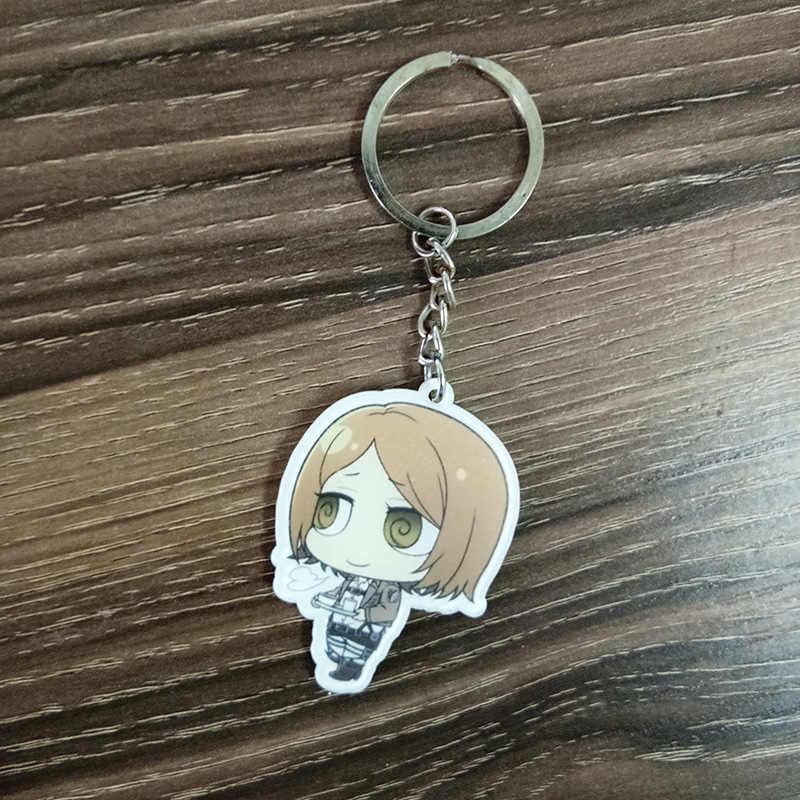 12 adet/takım Anime Anahtarlık Shingeki hiçbir Kyojin Titan Eren Ackerman Arlert Anahtarlık Anahtarlıklar Kolye De Llaveros