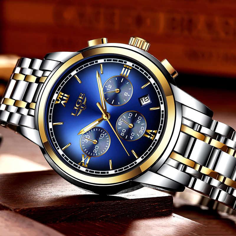 Reloj Montre Homme marca de lujo para hombre reloj deportivo LIGE reloj deportivo para hombre reloj de cuarzo de acero resistente al agua reloj Masculino