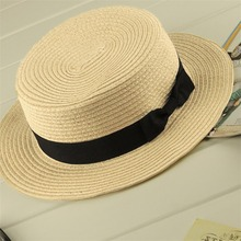 aa11fdaa595 Boater Sun Caps Ribbon Round Flat Top Straw Beach Hat for Mother Kids  Panama Summer Hats
