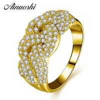AINUOSHI 10K Solid Yellow Gold Women Engagement Rings Sona Simulated Diamond Ring Luxury Cross Design Joyeria Fina Party Ring