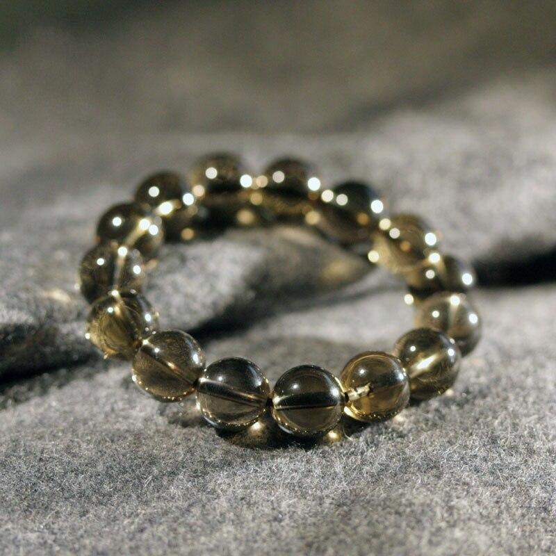 Natural 1.2cm Smoky Quartz Crystal Beads Prayer Bracelet ... Quartz Crystal Beads