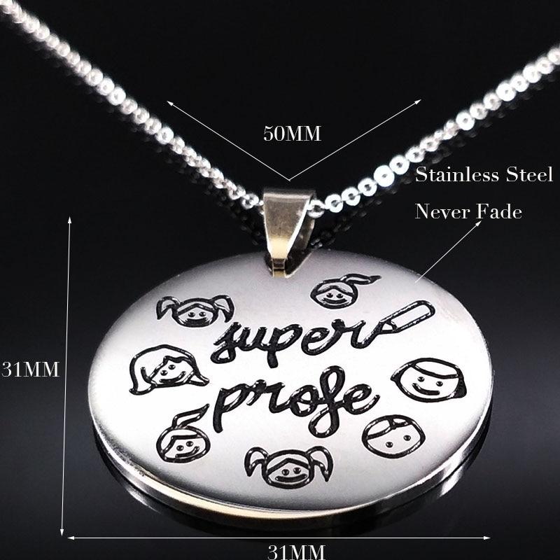 Teacher Day Gifts Stainless Steel Necklaces Choker Jewelry Women Kids Child Student Souvenir Jewelry la mejor profesora N17782B