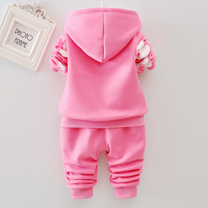 Image 4 - Winter thickening Baby girls Clothes 2018  new style Flower Long Sleeved coat + Pants Newborn Baby Girl Clothes Kids Bebes Suits