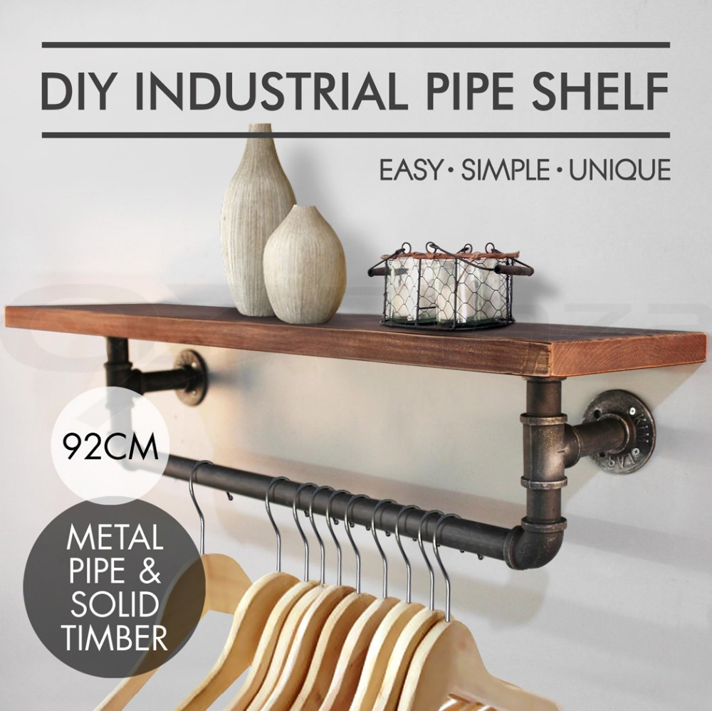 Industrial DIY Pipe Shelf Vintage Wall Mounted Towel Pipe Shelf Bracket Holder Home Decor Storage Holder