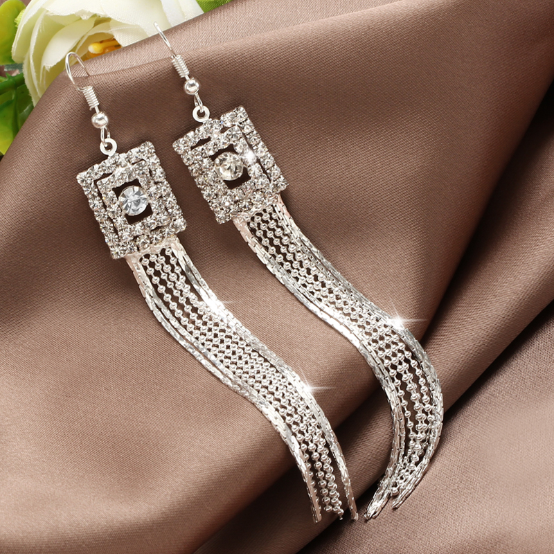 Hesiod Silver Color Women Earrings Full Crystal Long Tassel Leaf Star Pendant Earrings for Wedding Romantic Christmas Gifts
