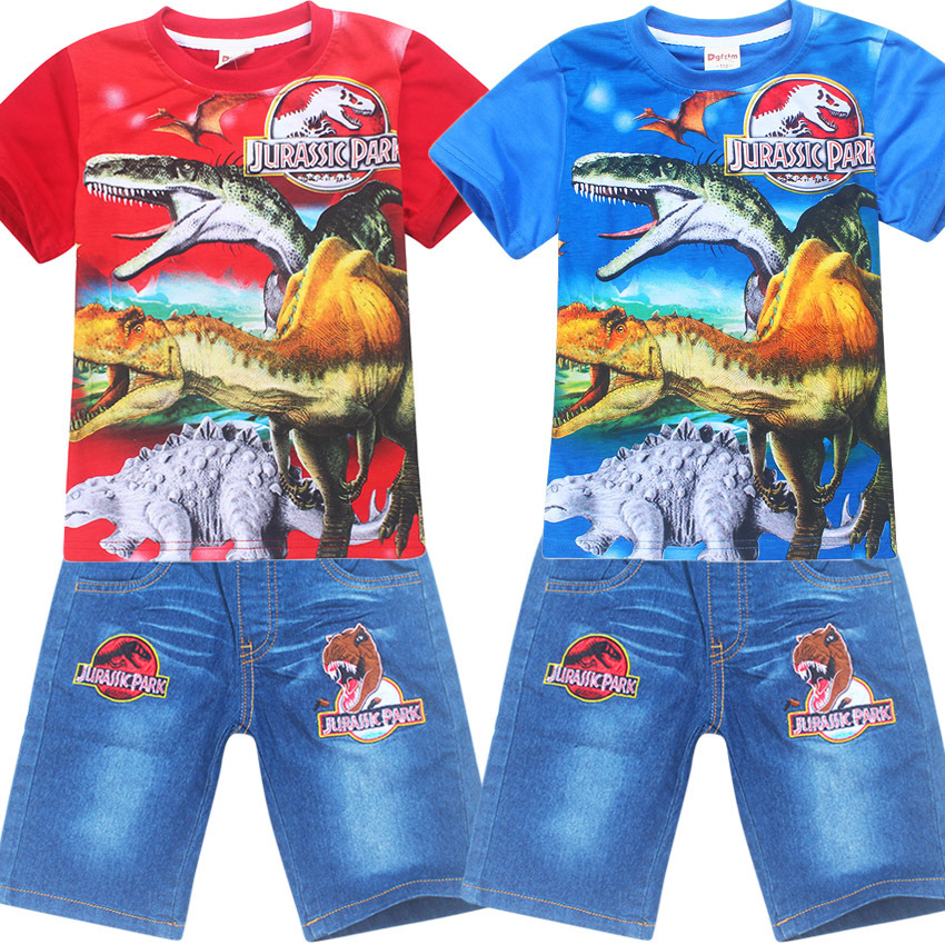 Boy Clothing Character Shorts Set Jurassic World&park T-shirt + jeans for boys Tops Summer Baby Boys Sport suits kids clothes 2pcs children outfit clothes kids baby girl off shoulder cotton ruffled sleeve tops striped t shirt blue denim jeans sunsuit set