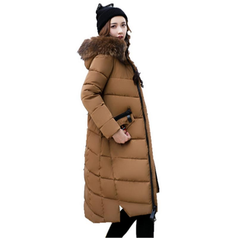 Women winter thicker cotton long section knee parka 2017 new hooded fur collar cotton Warm plus size loose women coat jackets winter new down jacket women 2017 oversized luxury fur collar thicker coat in the long section of 20 30 40 years old