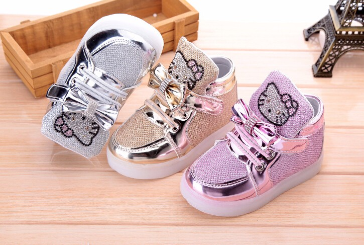 Hello-Kitty-Rhinestone-Led-Light-Shoes-Children-Baby-Girls-fashion-PU-shoes-Slip-on-casual-shoes-for-Christmas-1