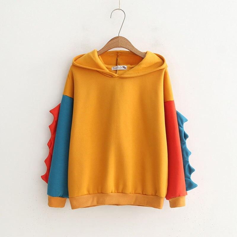 2019 Women's Sweatshirts Hoodies Kawayi Dinosaur Sweatshirt NEW  Velvet Cashmere Hooded Hoodies Kpop Fashion Womens Hoodie