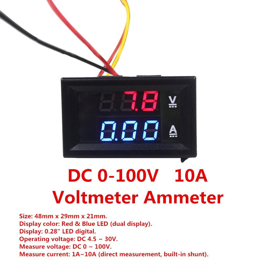 High Quality DC 100V 10A Voltmeter Ammeter Blue + Red LED Amp Dual Digital Volt Meter Gauge dc 0 100v 10a red led display digital voltmeter ammeter voltage meter ampermeter