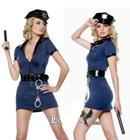 Vocole Policewoman Blue Deep V Dress  Police Woman Costume Cop Cosplay Uniform Outfit