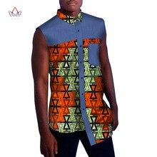 Mens African Clothing Men Shirts Summer Sleeveless Dashiki Print Shirt Plus Size 6XL BRW WYN846