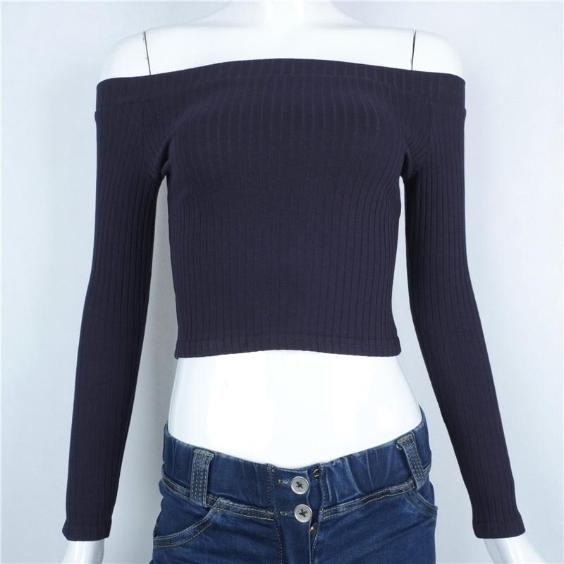HTB1ArdMOXXXXXcBaFXXq6xXFXXXS - Slash Neck White T-shirt Women Cropped Tops JKP032