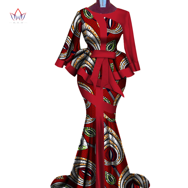 d36139ca2 African Wax Print Two Piece Set 2019 Bazin Riche elegant African  Traditional Clothing Dashiki Crop Top