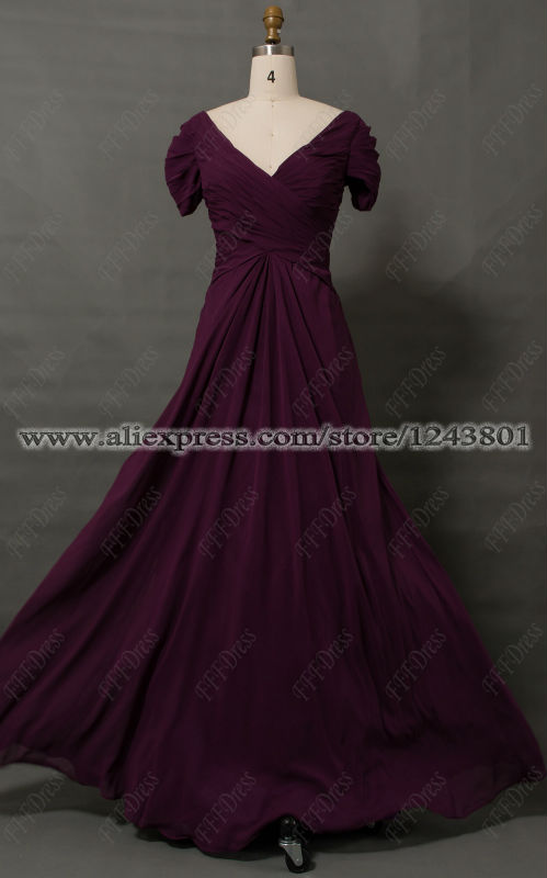 Modest Eggplant Plus Size Mother of the Bride Dress with ...