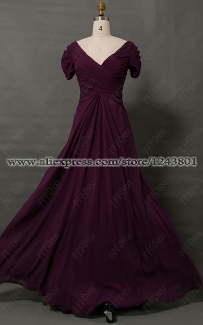 Modest Eggplant Plus Size Mother of the Bride Dress with Sleeves ...