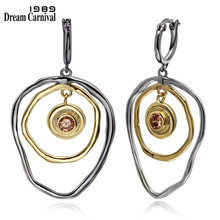 DreamCarnival 1989 Two Big Round Ethnic Dangling Neo-Gothic Drop Earrings for Women Brown CZ Bohemia Jewelry Pendientes WE3793