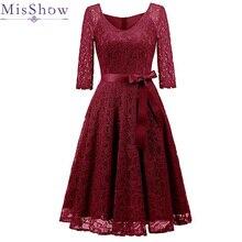 Элегантное бордовое коктейльное платье MisShow с v-образным вырезом длиной до колена, цветочное кружевное платье с лентами и бантом, женские новые стильные коктейльные платья
