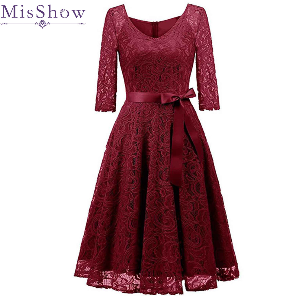 Elegant Burgundy Cocktail Dress MisShow V Neck Knee Length Floral Lace Gown Ribbons Bow 2019 Women New Style Cocktail Dresses