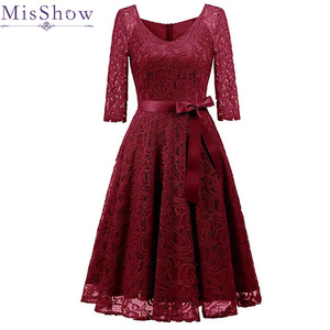 Image 1 - Elegant Burgundy Cocktail Dress MisShow V Neck Knee Length Floral Lace Gown Ribbons Bow 2019 Women New Style Cocktail Dresses