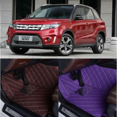 JIOYNG Auto Custom Foot Matten 3D Luxe Lederen Auto Vloermatten Past Voor Suzuki Vitara 2016 2017 2018