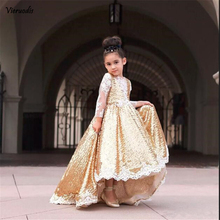 Gold Sequined High Low Flower Girl Dresses For Wedding Lace Long Sleeves Toddler Pageant Gowns Appliqued Ball Gown Custom Made cute pink lace flower girl dresses sheer sleeves appliqued baby girl dress tiered toddler pageant birthday dress for party gowns