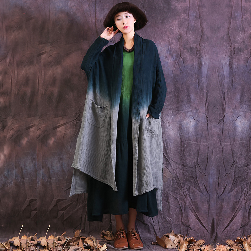 Johnature Women Cotton Linen   Trench   Coats 2018 Spring New Vintage Pockets Cardigan Plus Size Women Clothes Tie dye Women   Trench