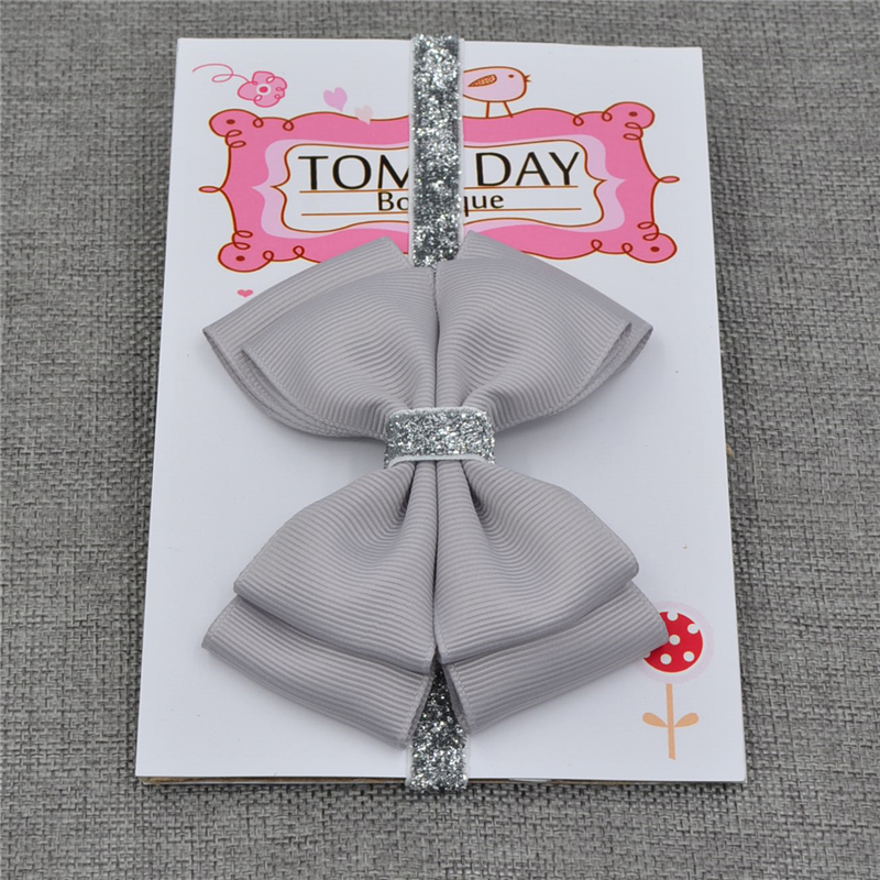 22 color new Baby hair bow flower Headband Silver ribbon Hair Band Handmade DIY hair accessories for children newborn toddler 3