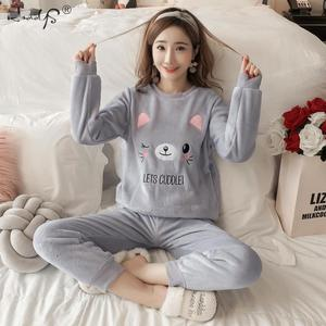 Image 4 - Thick Warm Flannel Pajama Sets for Women 2019 Winter Long Sleeve Coral Velvet Pyjama Girl Cute Sleepwear Homewear Clothing