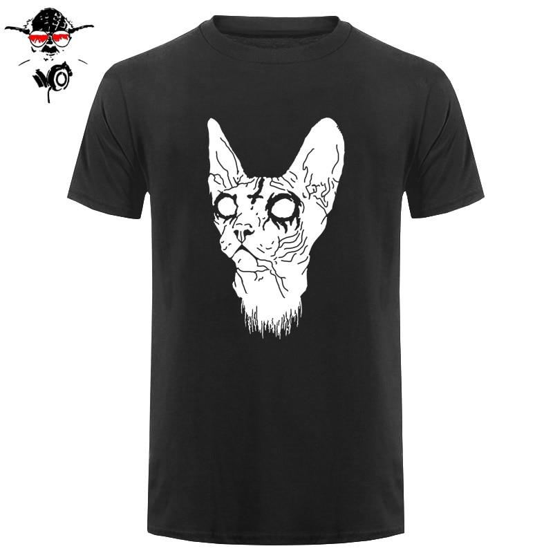 Printed T Shirt Short Sleeve Men Black Metal Sphinx Kitten In Baroque Frame Cotton Casual Men T Shirts