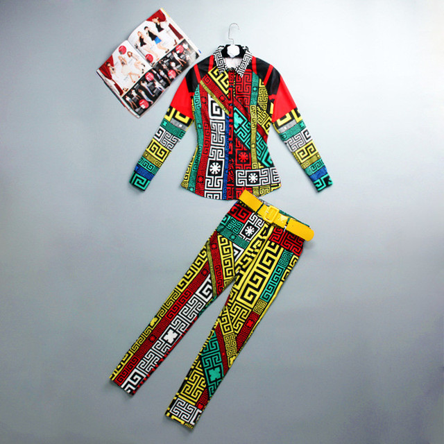 European American Women Fashion Vinatge Casual 2 Pieces Pants Set  Blouse+Slim Trousers Runway Big Size 5XL Tracksuit Twin Set
