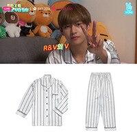 Kpop Home BTS Bangtan Boys V Same Vertical Stripe Satin Pajamas Harajuku Style Nighty Man And