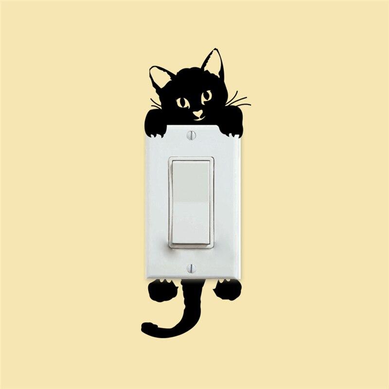 D#132 pet sticker door love white removable peel /& stick door covering lovable cute Sleeping Cat Door mural Self adhesive door wrap