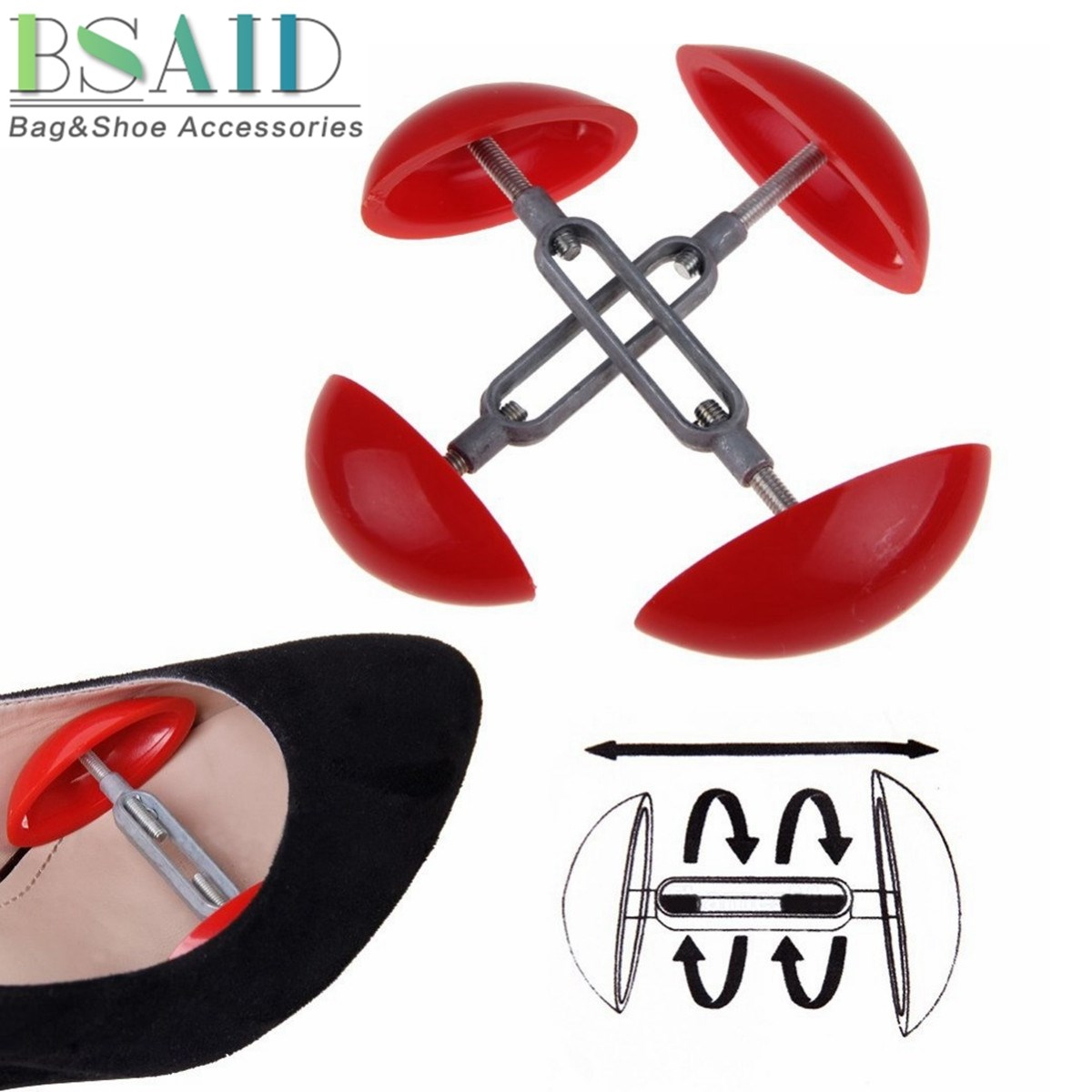 BSAID 1 Pair Shoe Stretcher Shoes Tree Shaper Rack, Mini Mens Ladies Professional Shoe Trees Adjustable Shaper Width Expander