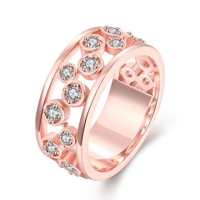 New Yellow Gold / Rose Gold Color Women Luxury Multicolor Crystal & AAA Zirconia Rings Wedding Geometric Ring