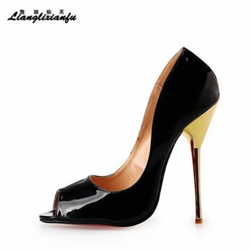 LLXF stilettos Plus:40-45 46 47 48 49 50 Drop shipping SANDALS 14cm Metal thin heels women dress shoes Pantent Leather SM pumps llxf plus size 40 44 45 46 47 48 49 50 summer stiletto ladies shoes sexy 13cm metal thin high heels sandals woman peep toe pumps