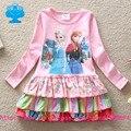 Флаги марка 2016 new kid dress baby girl одежда roupa infantil meninas мультфильм длинный рукав платья детская одежда носите q915 #