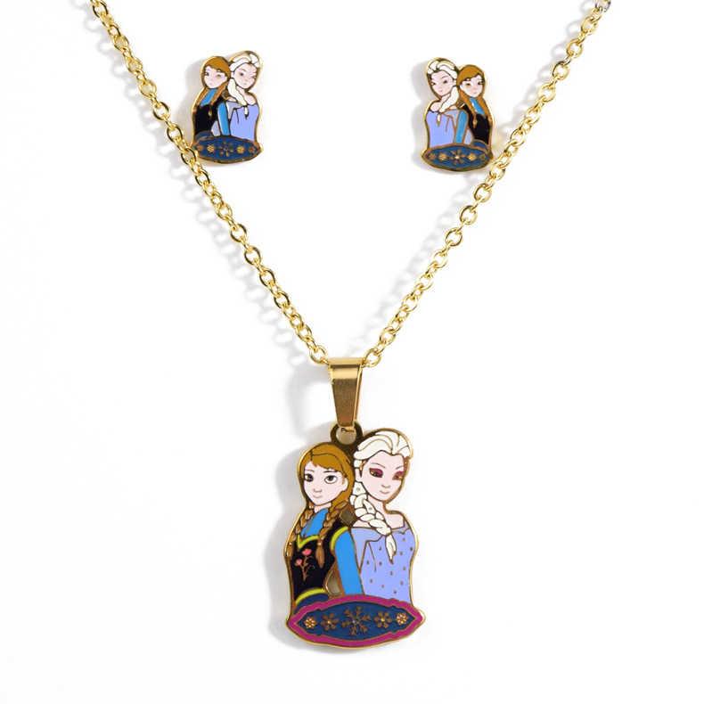Juego de collares y pendientes de gato KT de dibujos animados, collar de acero inoxidable chapado en oro, collar y pendientes, conjuntos de joyería para mujer/niños, Kits de regalo