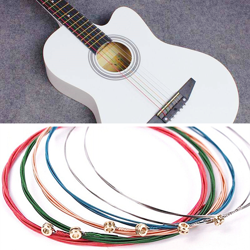 Rainbow Colorful Guitar Strings E-A For Acoustic Folk Guitar Classic Guitar Multi Color Acoustic Guitar Steel Strings 6pcs