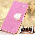 KISSCASE Glitter Leather Phone Case For Samsung Galaxy S5 S6 Edge Plus S7 Edge Note 4 5 Women Girl Bling Diamond Flip Case Cover